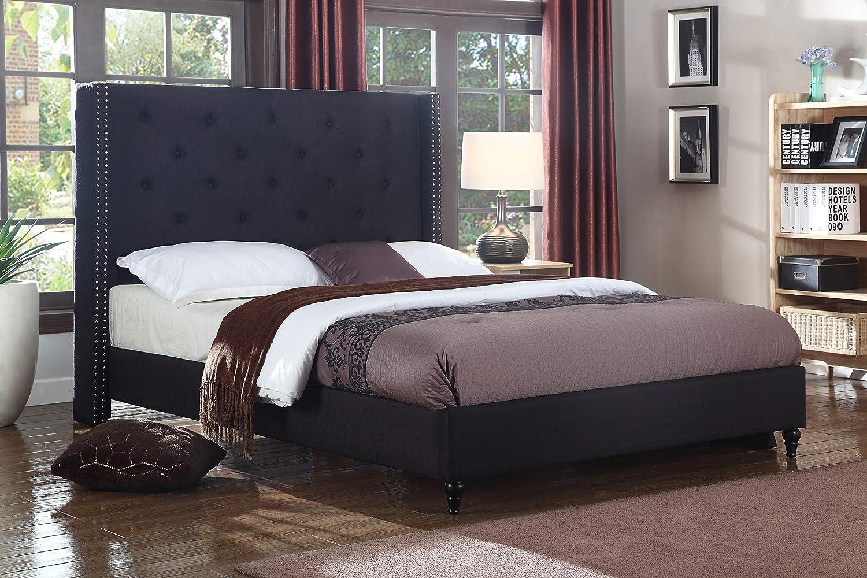 Best Master Furniture Vero Tufted Wingback Platform Bed, Queen, Black
