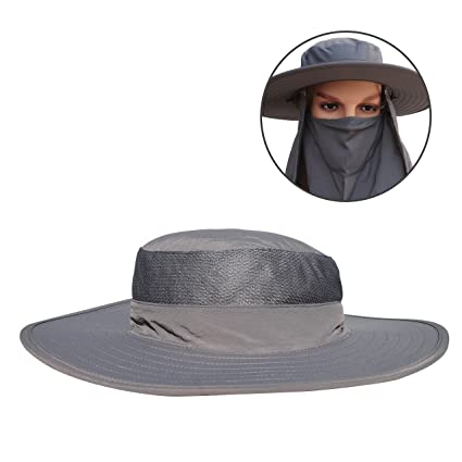 302bdcee067 V-RULE Sun Hat - Fishing Hat With Removable Mask and Shawl Wide Brim Cap