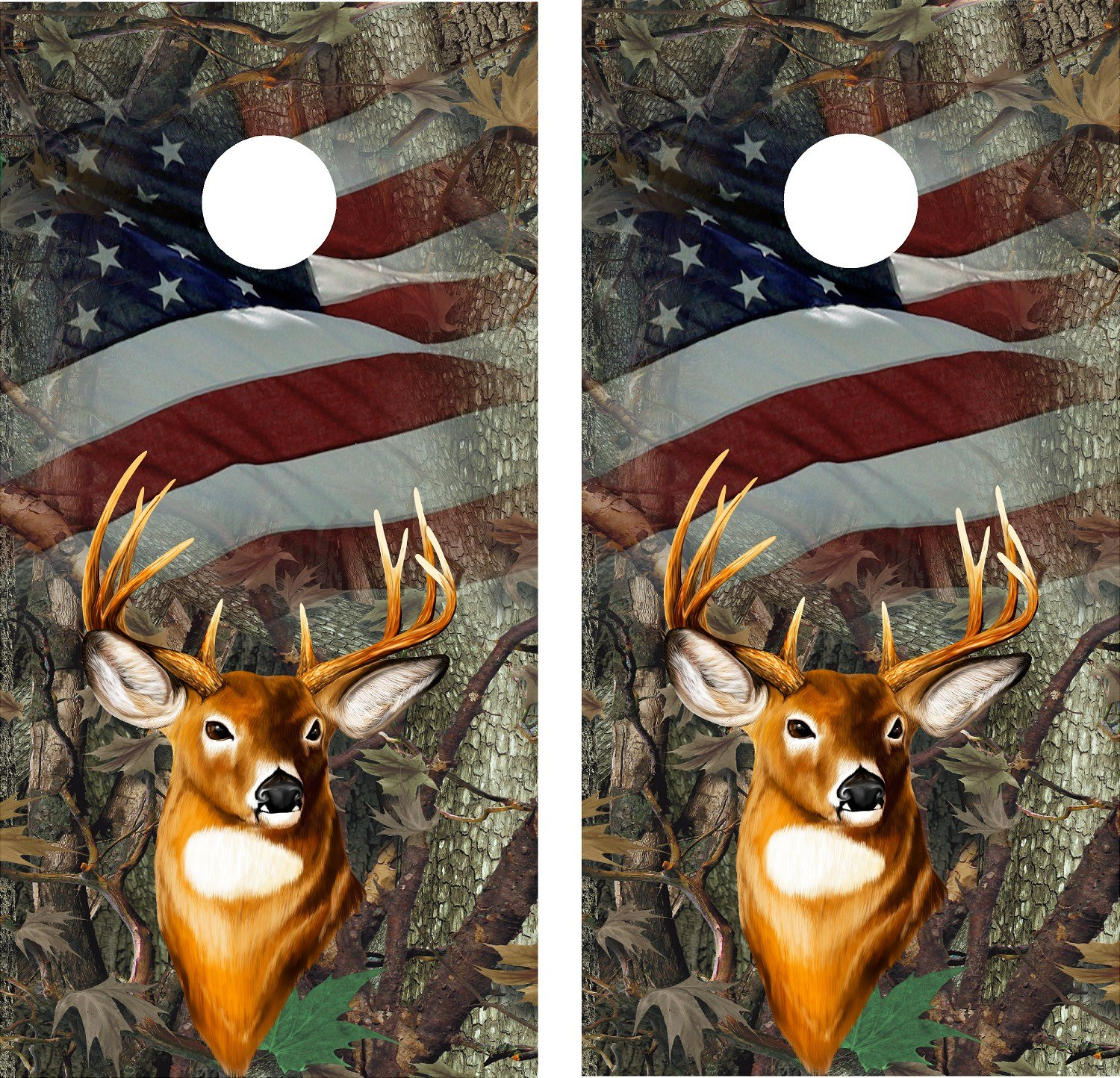 Cornhole Wrap Decal Camo Oak Deer Flag Flag Laminated by avgrafx