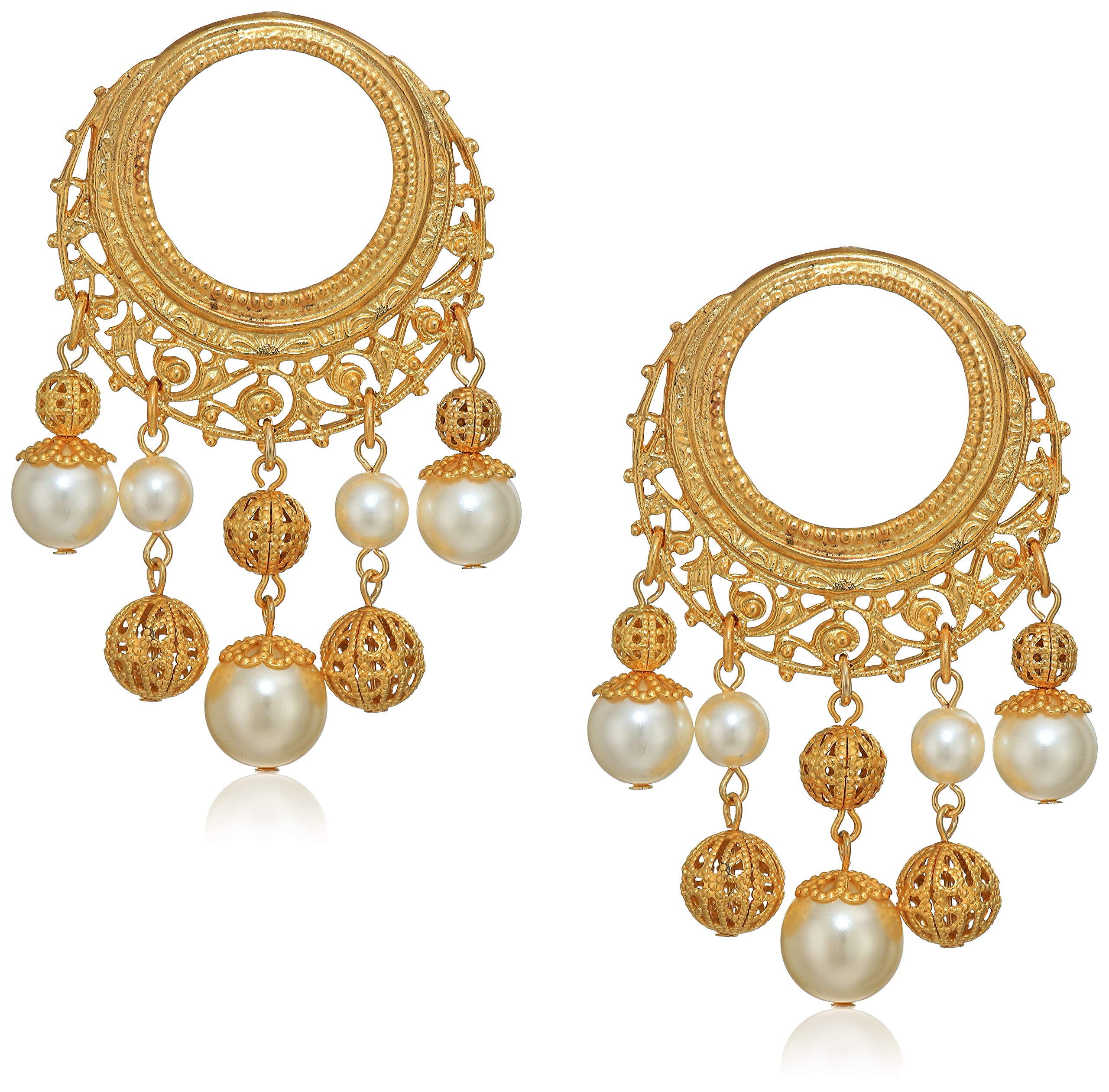 Ben-Amun Jewelry Gold Hoops with Gold Ball and Pearl Drop Post Earrings