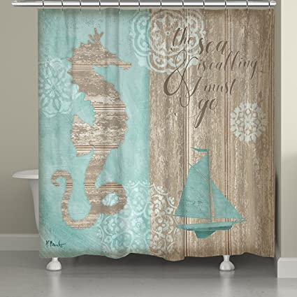 Laural Home BCHBW74SC Beach Boardwalk Shower Curtain Blue Brown