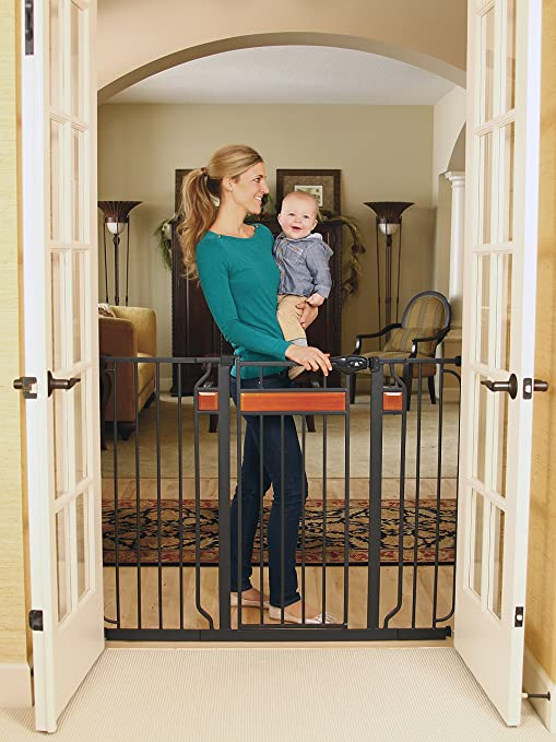 This Baby Gate Features A Stylish, Walk Through Design With Beautiful  Hardwood Inserts And Black Metal. It Is 38 Inches Tall And Adjustable From  29 44 ...