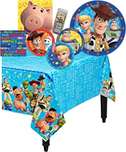 Amscan Disney Toy Story 4 Birthday Party Tableware Kit Napkins, Plates, Tablecover Bundle, 16 Guests