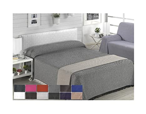 Colcha multiusos / Cubre sofás / Sobrecamas y colchas / Manta color liso para sofá 3 plazas o cama 135-150cm (220 x 260 cm, NEGRO)