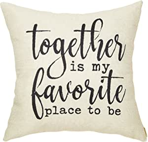 Amazon Com Fahrendom Rustic Decoration Together Is My Favorite Place To Be Farmhouse Décor Sweet Home Sign Cotton Linen Home Decorative Throw Pillow Case Cushion Cover With Words For Sofa Couch 18 X