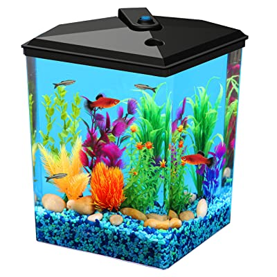 Fish Aquariums Tanks 6.5 Gallon with Power Filter Clear Acrylic with Led Lightin