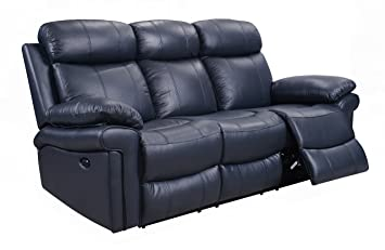 Amazon Com Oliver Pierce Op0037 Hudson Reclining Leather Sofa Blue