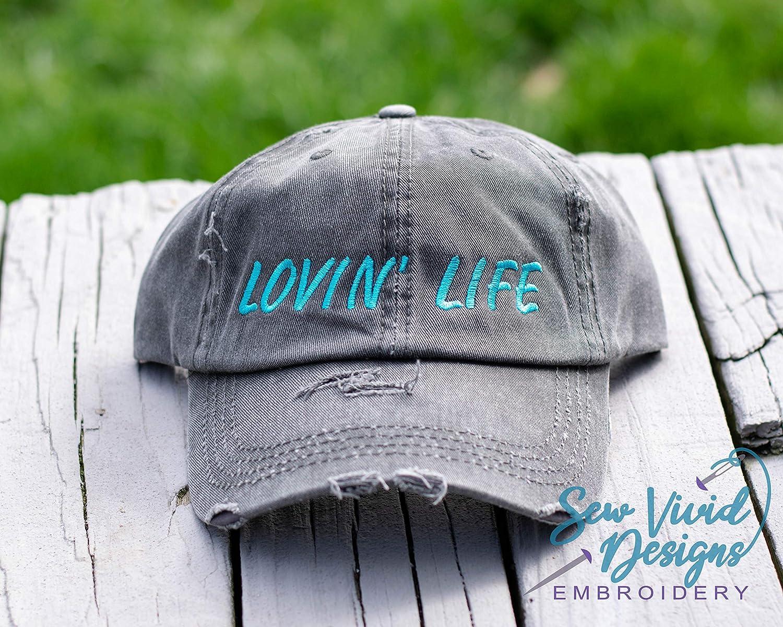 77d0688f Amazon.com: Lovin' Life Hat, Embroidered Distressed High Ponytail Baseball  or Trucker Hat: Handmade