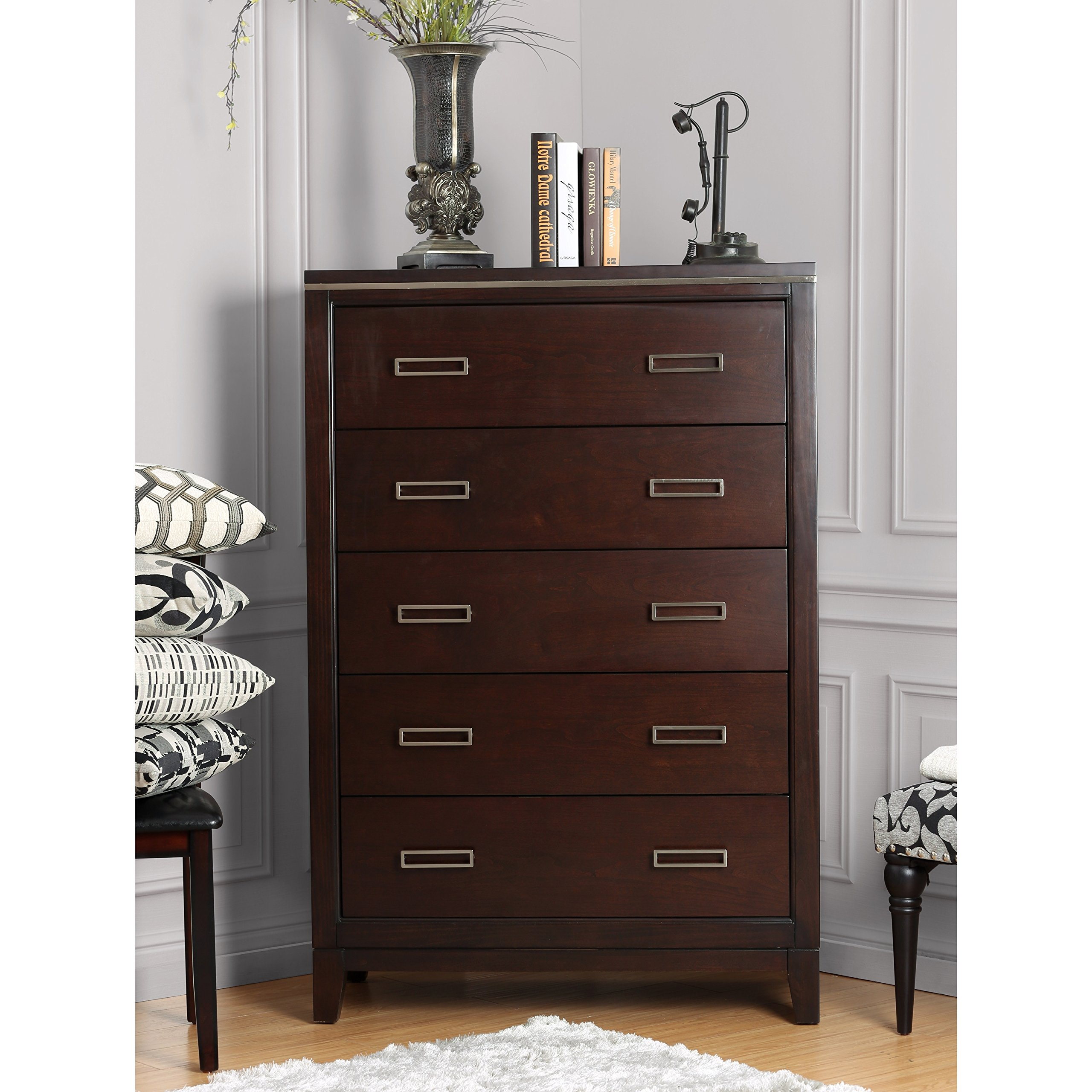 Furniture of America Derraugh Contemporary Cherry 5-drawer Chest