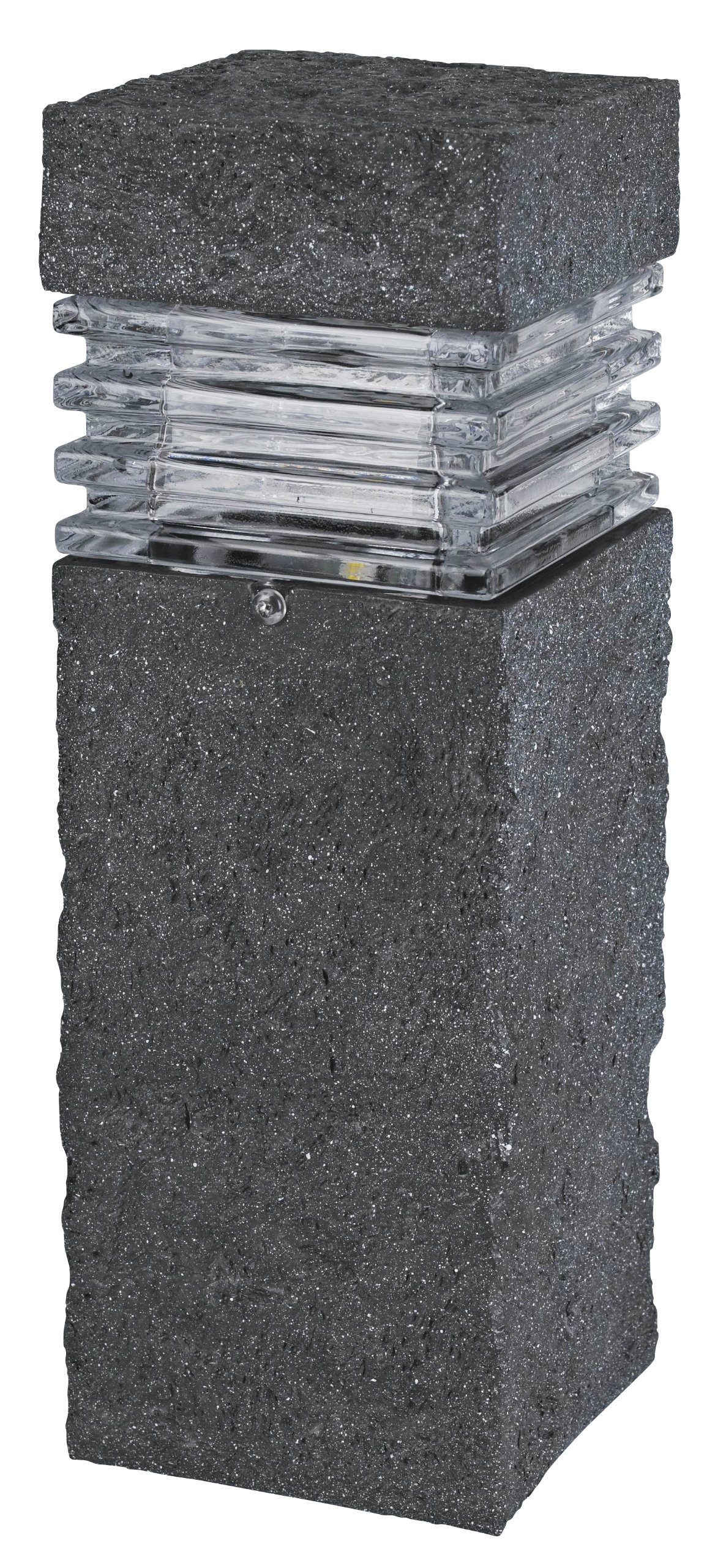 Paradise by Sterno Home Low Voltage LED Polyresin Bollard with Textured Stone, 3-watt,Black