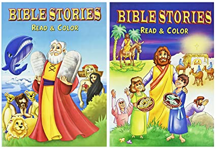 Amazon.com: Set of 2 Bible Stories Coloring Books with 96 ...