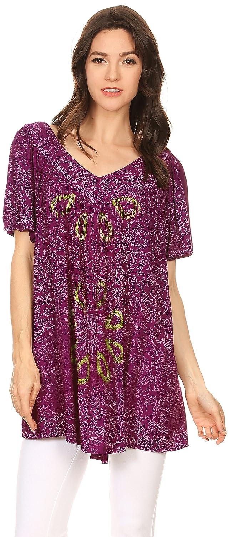 Sakkas Talulla Larga Cuello EN V Batik Floral de La Hoja Impresa Blusa Bordada Top: Amazon.es: Ropa y accesorios