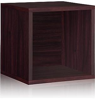vinyl record storage cube extra large stackable lp record album shelf espresso