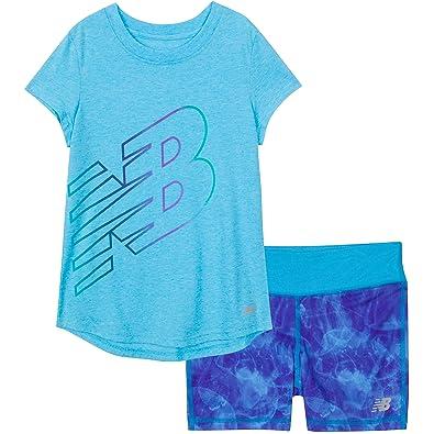 8cd9ed23839 New Balance Little Girls  Short Sleeve Athletic Graphic T-Shirt and Bike  Short Set