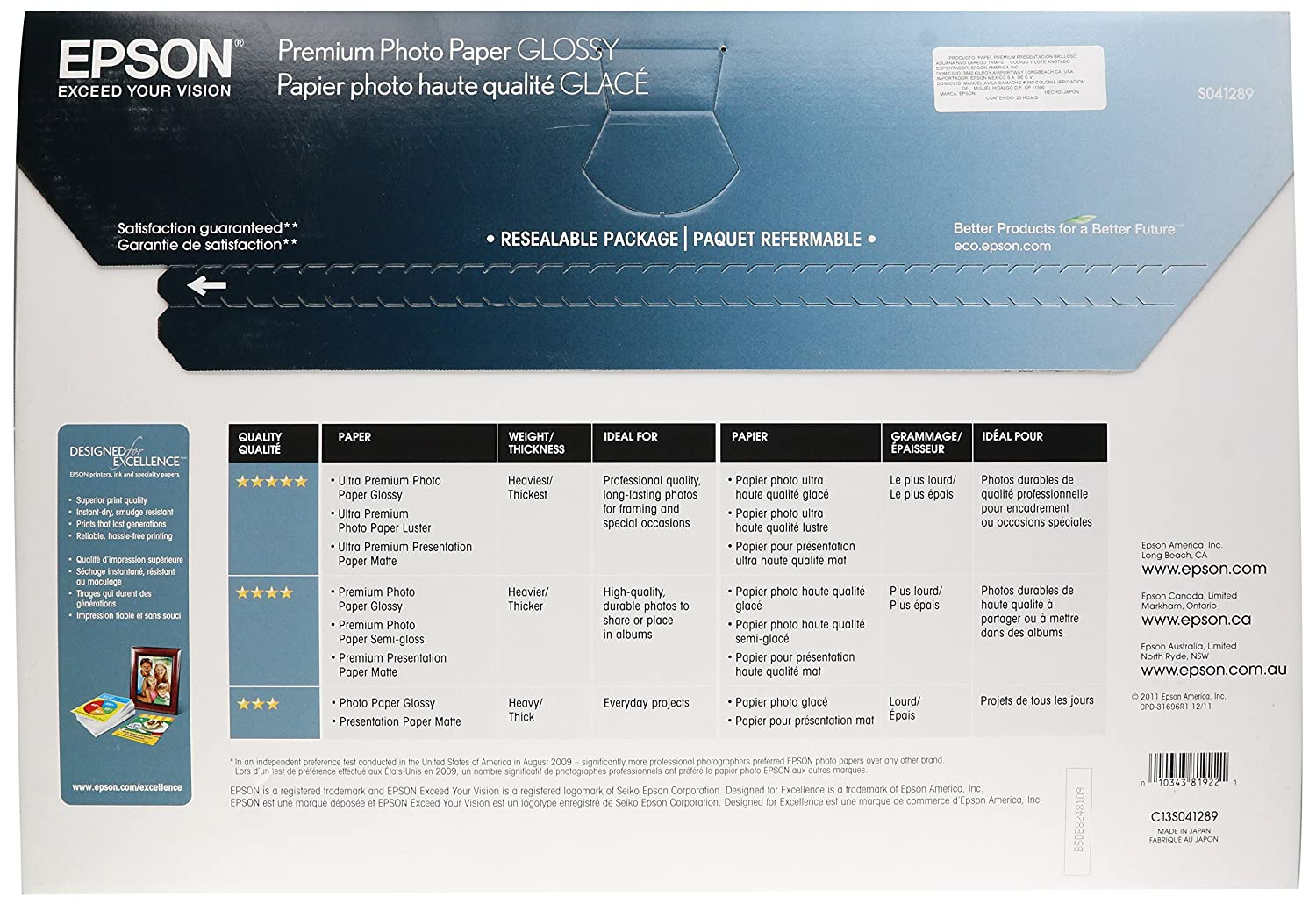 Epson Premium Photo Paper GLOSSY (8 5x11 Inches, 50 Sheets) (S041667)
