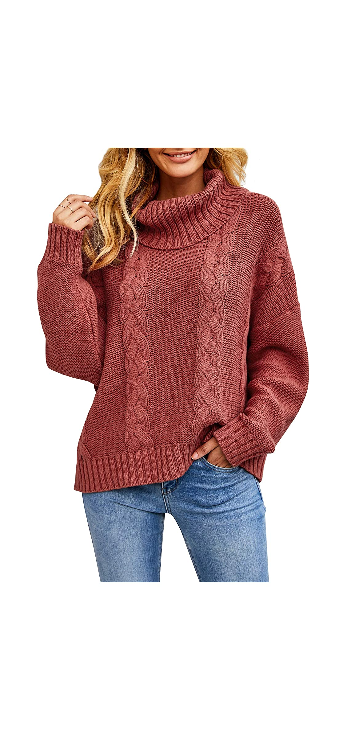 Womens Oversized Cable Knit Turtleneck Sweaters Cowl Tops