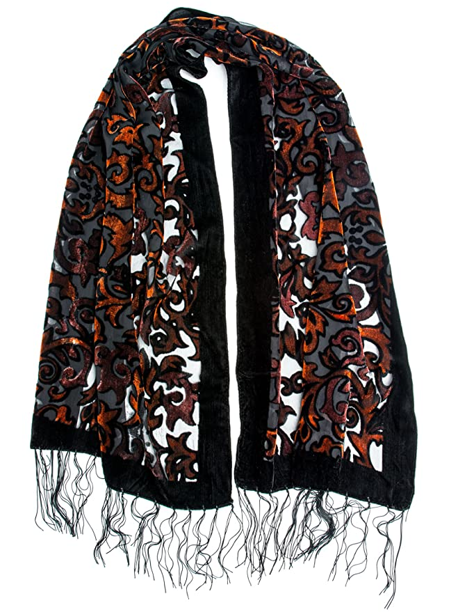 Vintage Scarves- New in the 1920s to 1960s Styles  Silk Brocade Print Velvet Burnout Scarf with Fringe Ends $17.95 AT vintagedancer.com