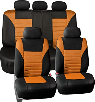 SUVs Trucks and Vans Low Back 3 Layered Mesh with PU Leather Sport Seat Covers 4PCS Fit Most Cars Black//Red Airbag Compatible PIC AUTO Universal Front Car Seat Covers