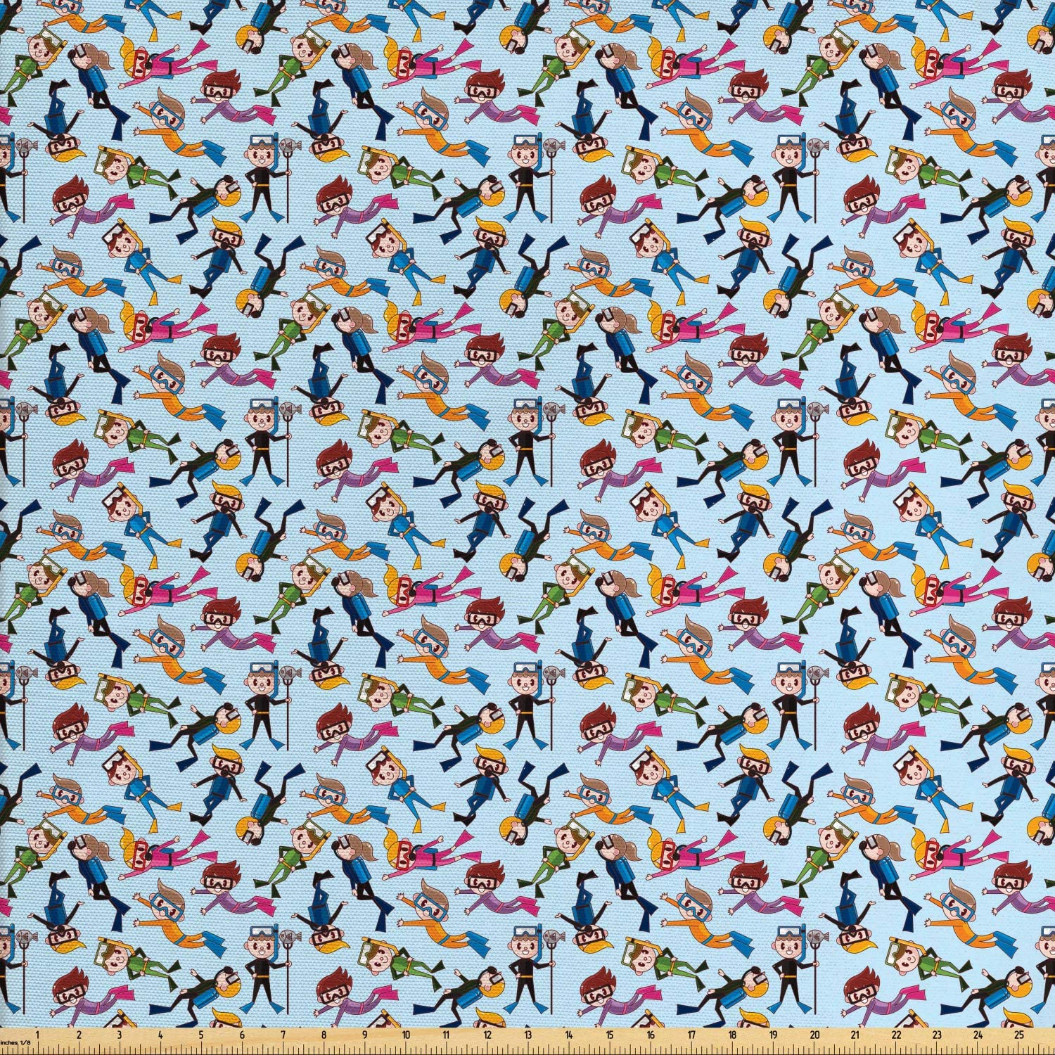 Lunarable Scuba Fabric by The Yard, Cartoon Children Diver Swimming and Catching Fish Aquatic Hobby Arrangement, Decorative Fabric for Upholstery and Home Accents, 1 Yard, Pale Blue
