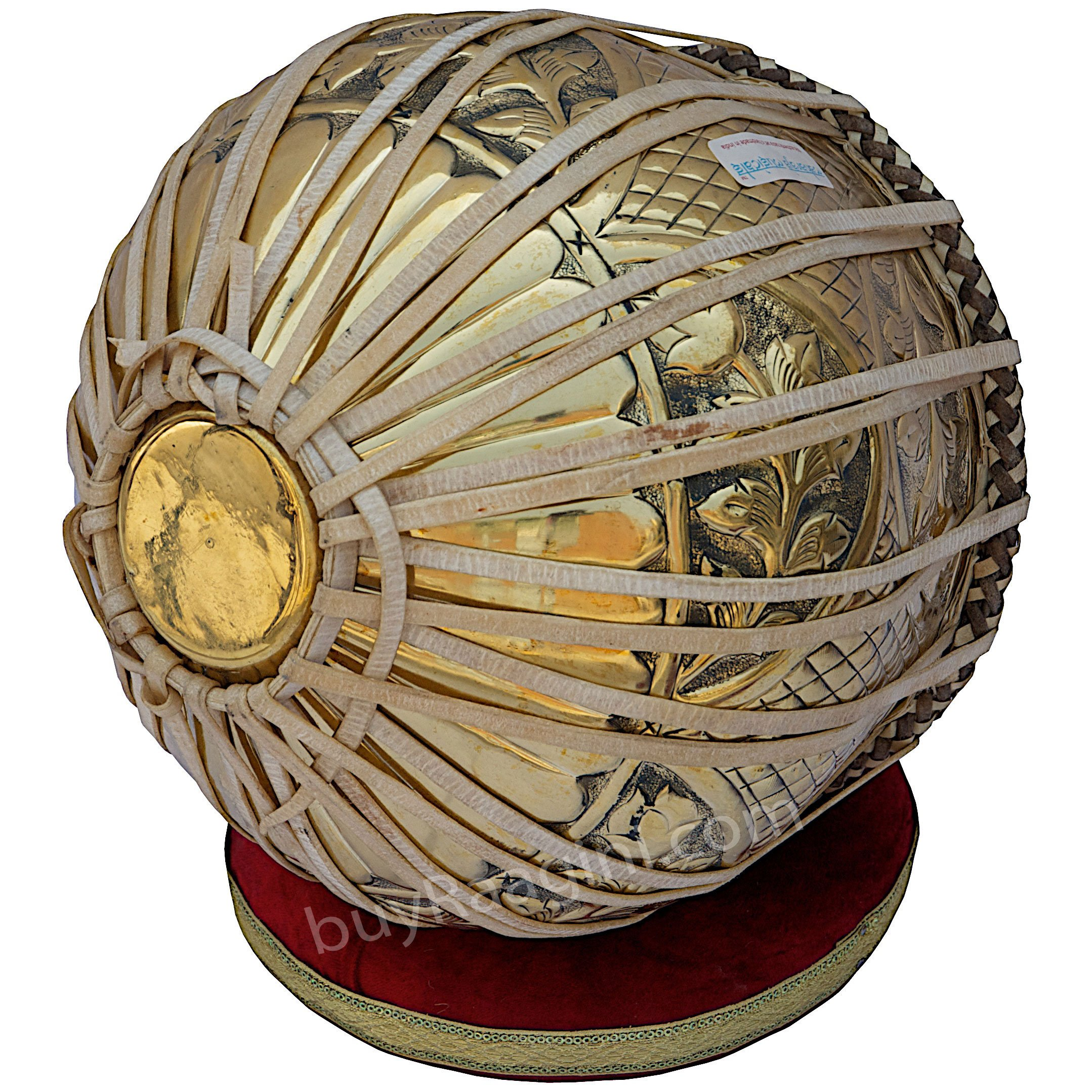 Tabla Set, Maharaja Musicals, 3.5 Kg Designer Golden Brass Bayan, Sheesham Tabla Dayan, Professional Drums, Padded Bag, Book, Hammer, Cushions, Cover, Tabla Drums Indian (PDI-FG) by Maharaja Musicals (Image #5)