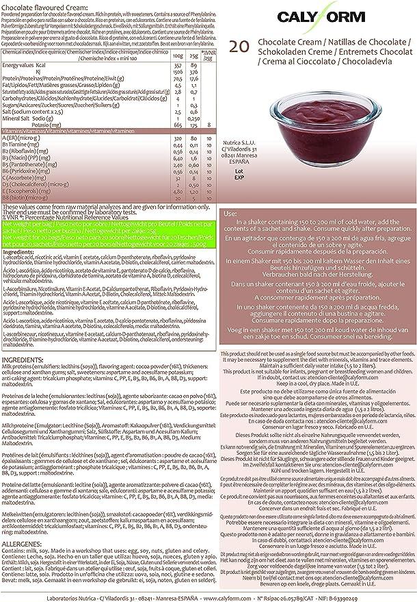 CALYFORM Natillas proteicas para dieta sabor Chocolate   Proteína en polvo para preparar natillas de calidad y aporte en aminoácidos esenciales (20 ...