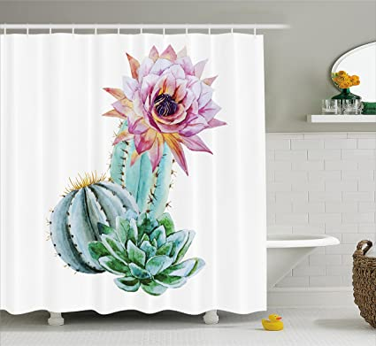 Ambesonne Cactus Decor Shower Curtain Spikes Flower In Hot Mexican Desert Sand Botanic Natural