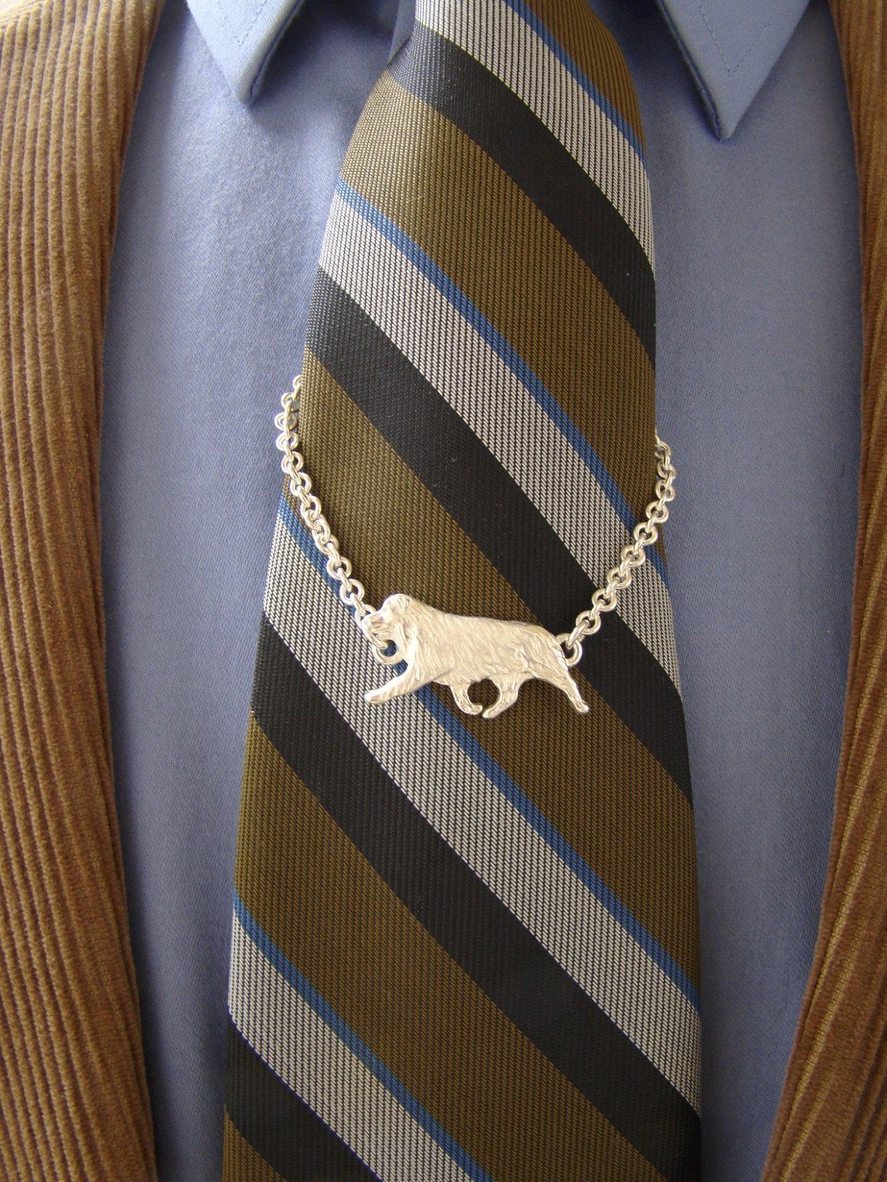 Sterling Silver Australian Shepherd Moving Study Tie Chain