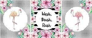 Silly Goose Gifts Flamingo Bathroom Decoration Decor Wall Art Set (Set of Three) Wash Brush Flush Floral Black White