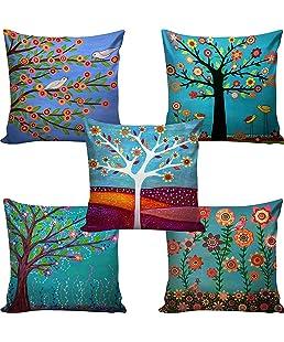 swasiya Jute Cushion Cover (Multicolour,16x16)-Set of 5
