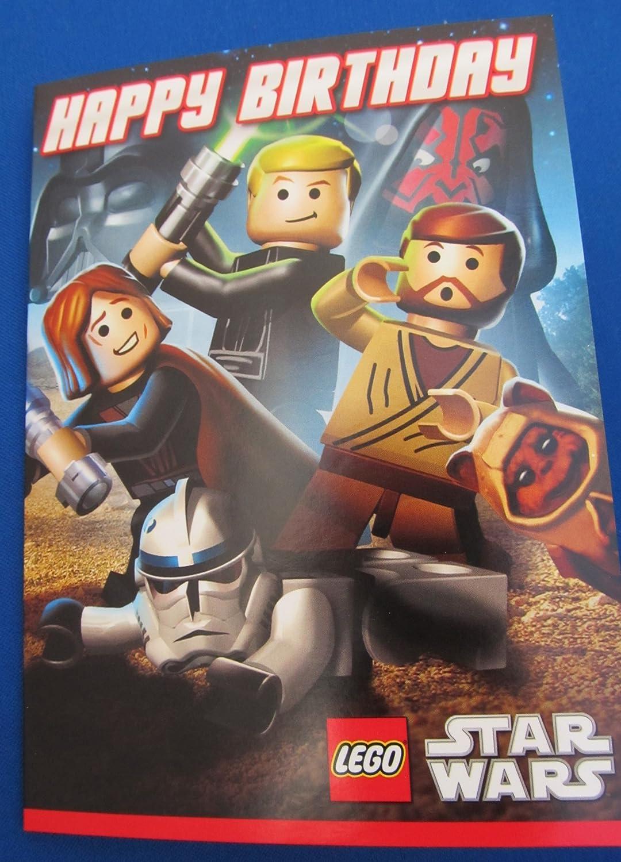 Lego Star Wars tarjeta del feliz cumpleaños: Amazon.es: Hogar