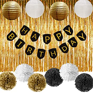 Amazoncom Paxcoo Black and Gold Party Decorations with Happy