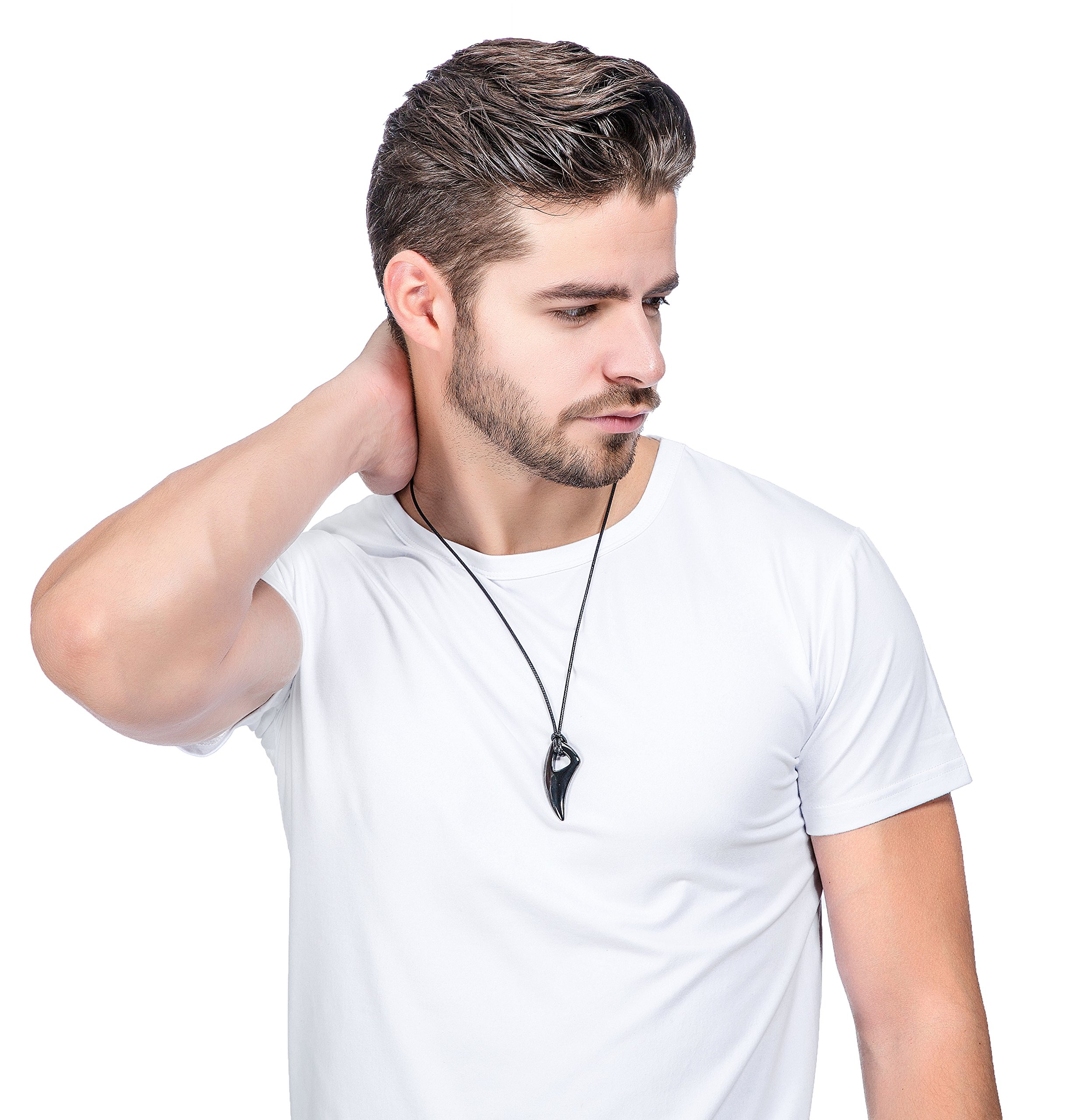 Jstyle Stainless Steel Necklace for Men Necklace Chain Spear Wolf Teeth Pendant Adjustable Chains 2 Set by Jstyle (Image #7)