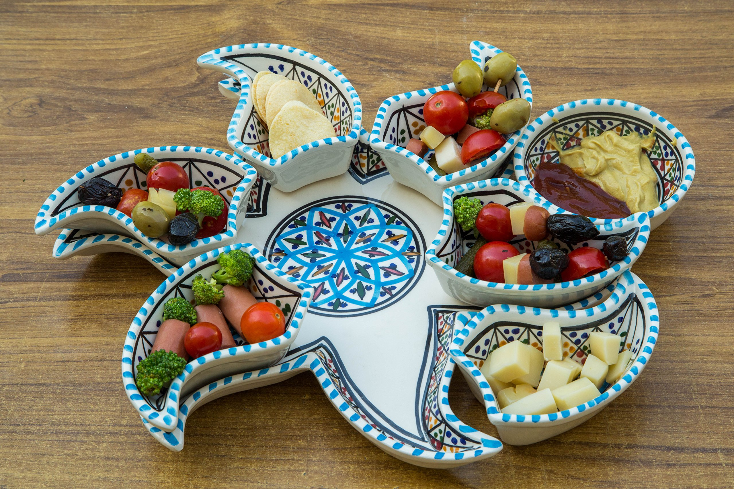 Turquoise Star Dippers, 8 Pieces of Ceramic Dipping and Serving Plates Handmade, Hand-painted - Gifts, Wedding Gifts Birthday Celebration and Housewarming Gifts, Labor Day Celebration