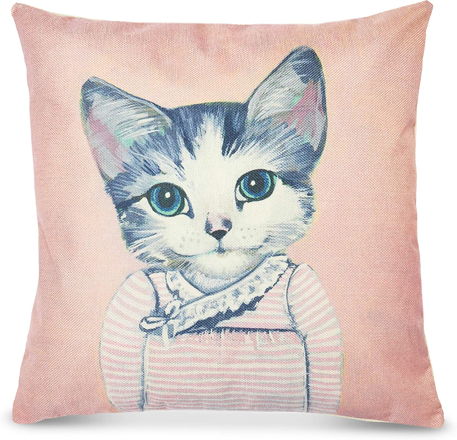 Okuna Outpost Pink Cat Throw Pillow Cover, Home Decor (18 x 18 Inches)