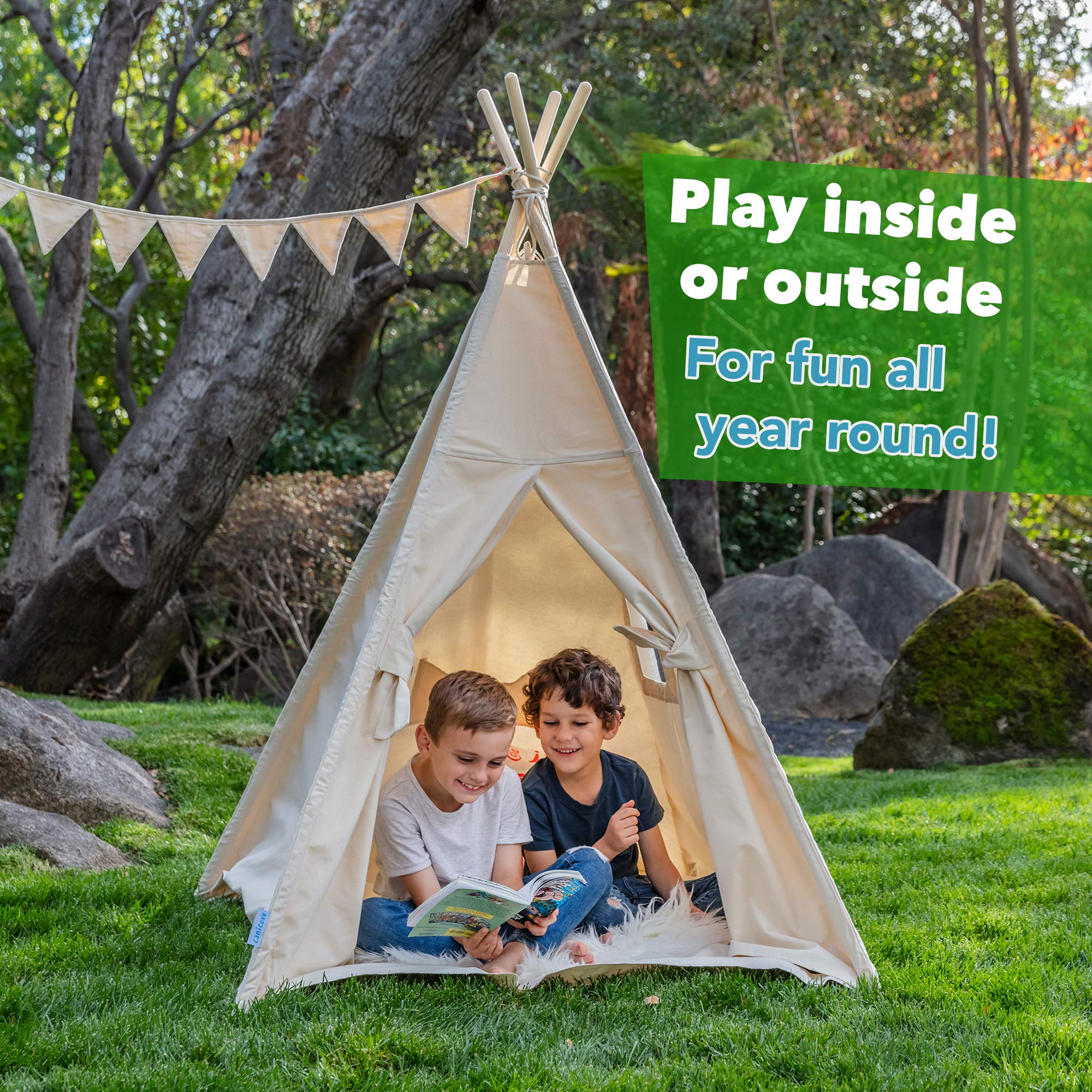 Canicove Teepee Tent for Kids - Award Winning 100% Cotton Play Tent - Large Indoor/Outdoor Tipi for Boys & Girls + Free Fun Flags! by Canicove (Image #3)