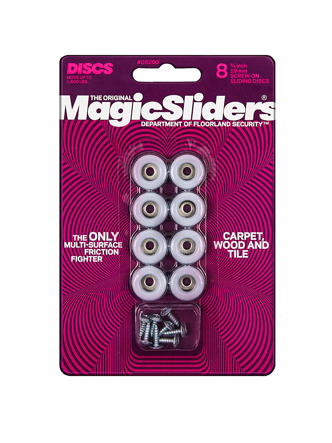Magic Sliders LEPUSPTLSHI7736 Not Available 3/4 (20mm) Round 40 Count, 5-Pack, White
