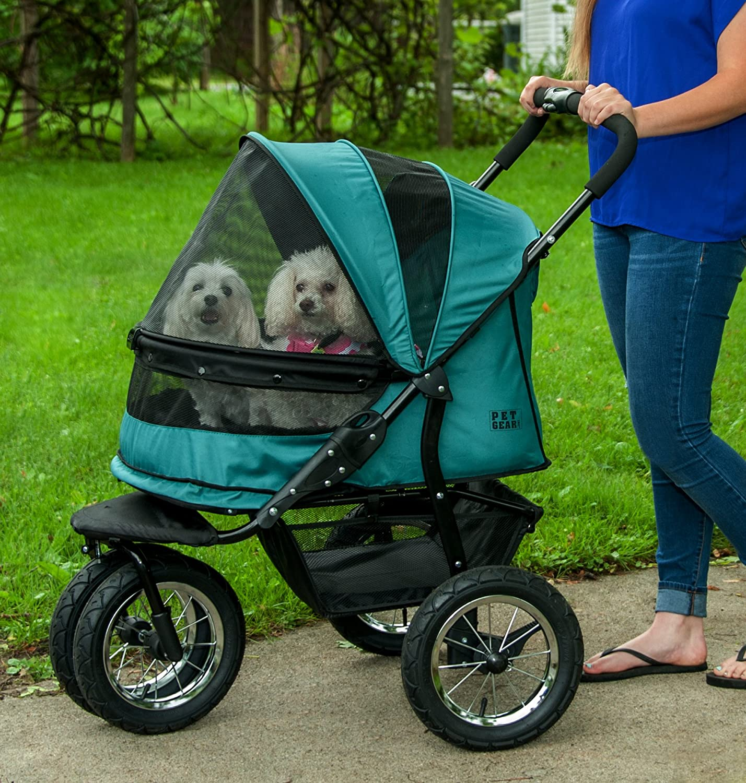 Amazon Pet Gear No Zip Double Pet Stroller Zipperless Entry Pine Green Pet Supplies