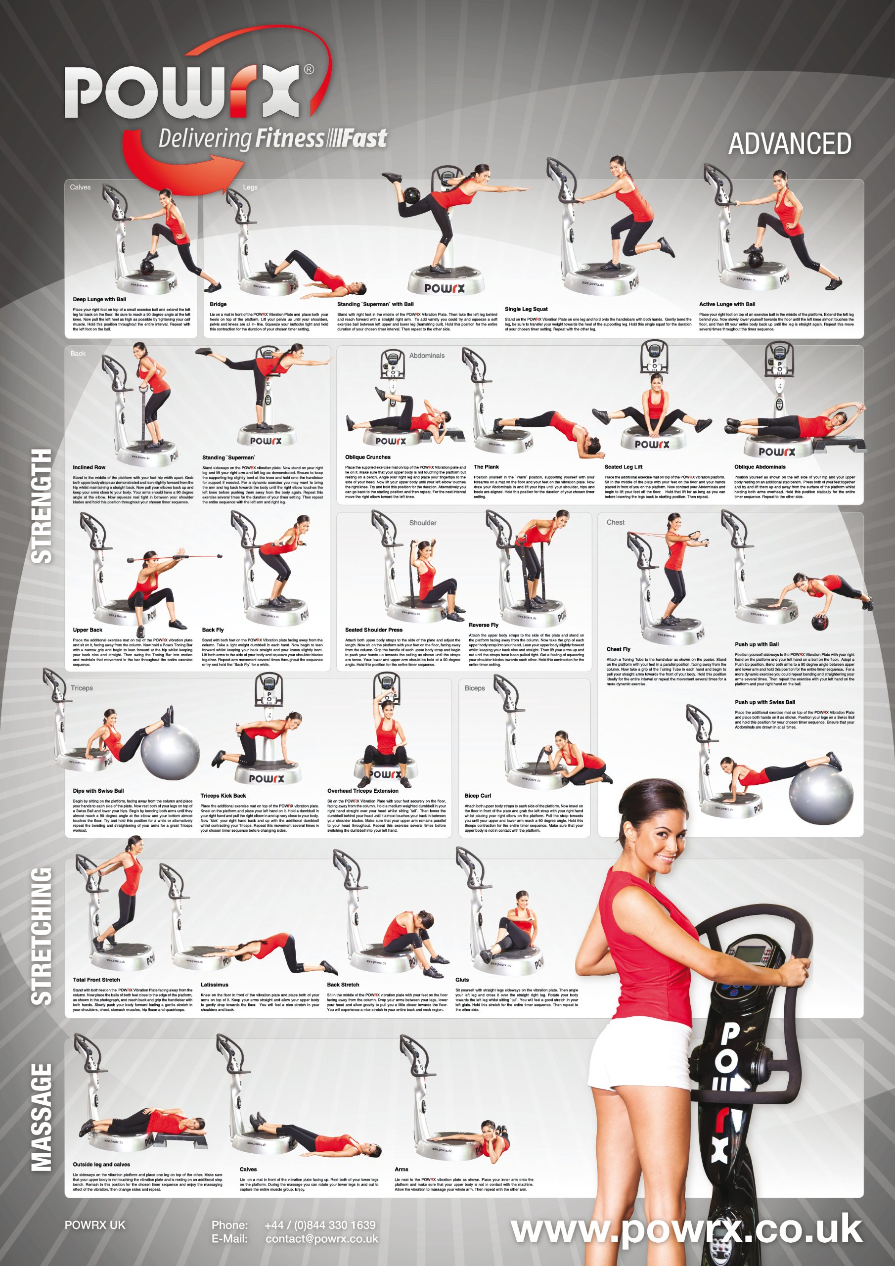 Advanced Whole Body Vibration Training Chart with 'New' Training Recommendation Insert.