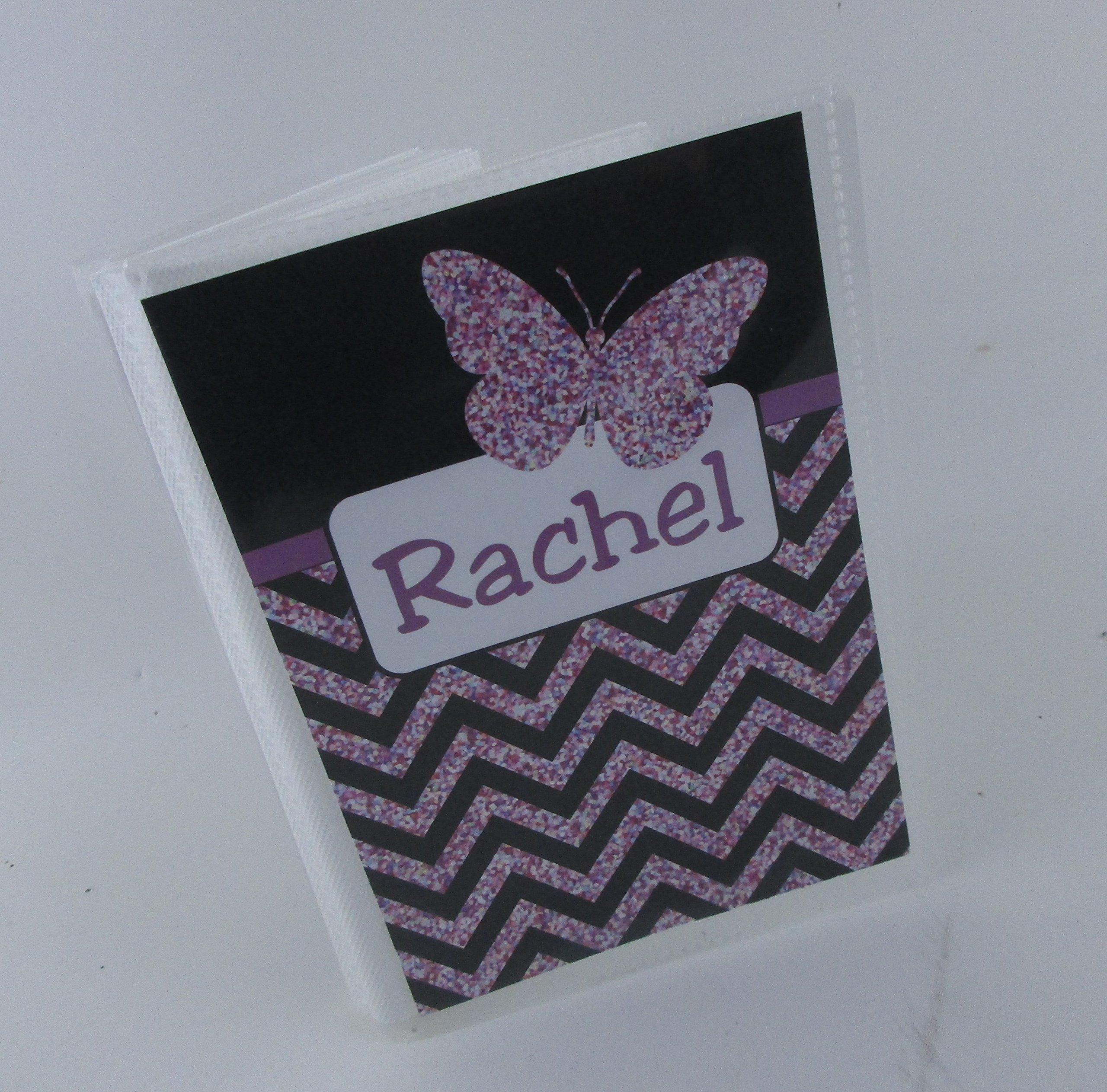 Girl Photo Album IA#533 Butterfly 4x6 or 5x7 Pictures Baby Shower Gift Sparkle Black Purple Chevron
