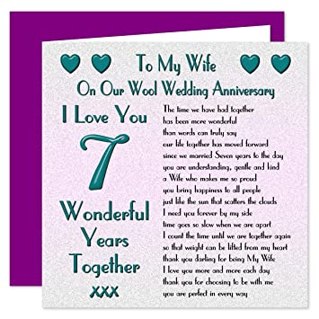 7th Wedding Anniversary.My Wife 7th Wedding Anniversary Card On Our Wool Anniversary 7 Years Sentimental Verse I Love You