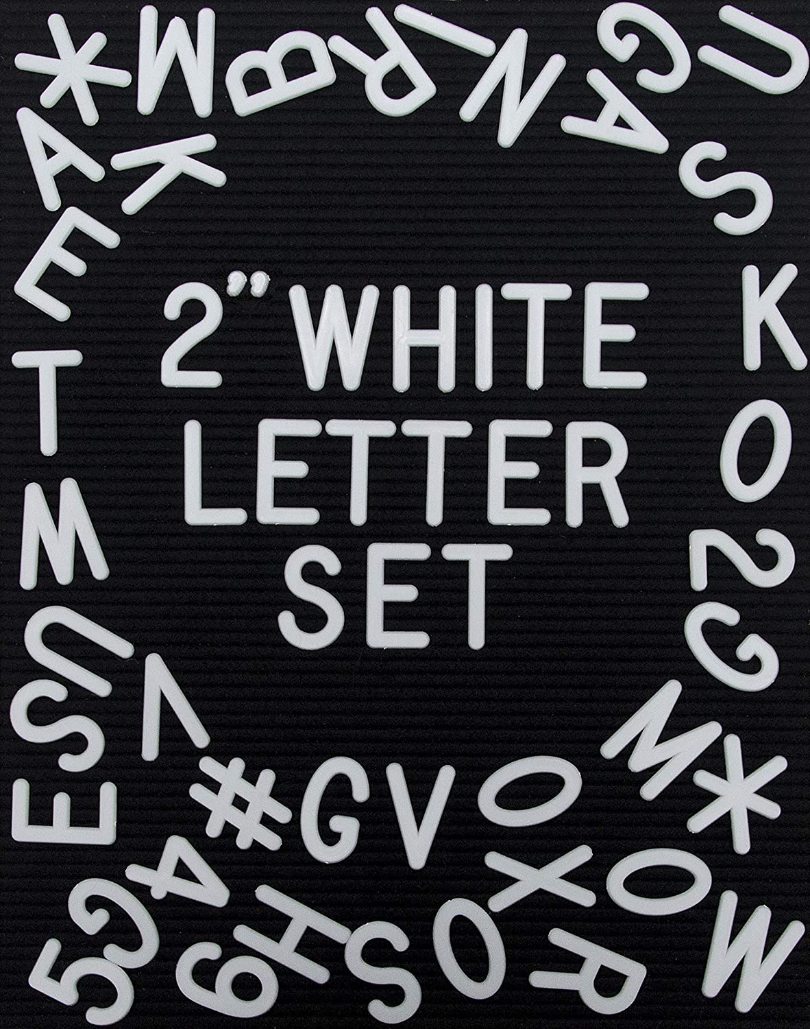 White Plastic Letter Set for Changeable Felt Letter Boards. 2 Inch Letters, Set of 326 Characters by Felt Like Sharing
