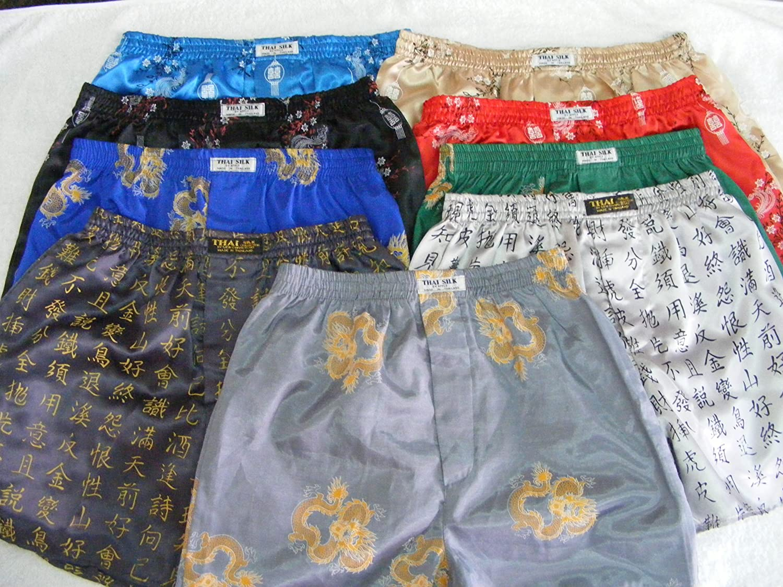 Oriental Dragon Design Thai Silk Boxer Shorts Black 28-30