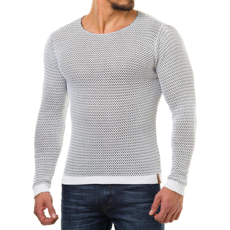 76d4de7e5196 EightyFive Herren Pullover Feinstrick Body Fit Schwarz Weiß EF1648,  Größe XL, Farbe Weiß  Amazon.de  Bekleidung