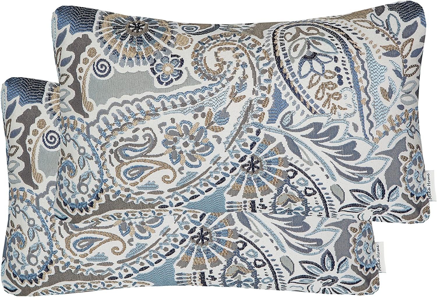 Mika Home Pack of 2 Oblong Rectangular Throw Pillow Cover Cushion Cases for Sofa Couch Chair,Paisley Pattern,12x20 Inches,Blue Brown Cream Multicolor