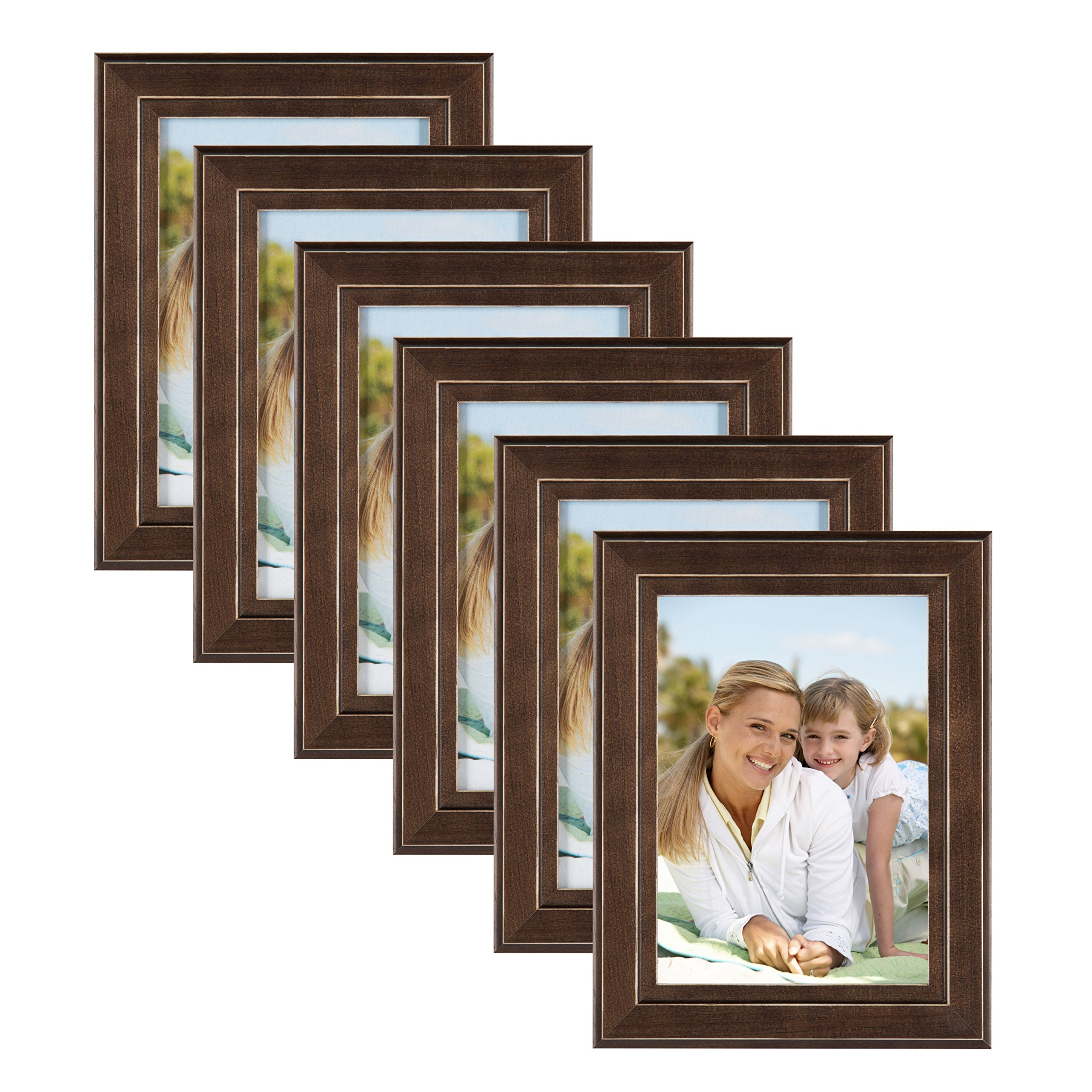 DesignOvation Kieva Solid Wood Picture Frame, Distressed Espresso Brown 5x7, Pack of 6