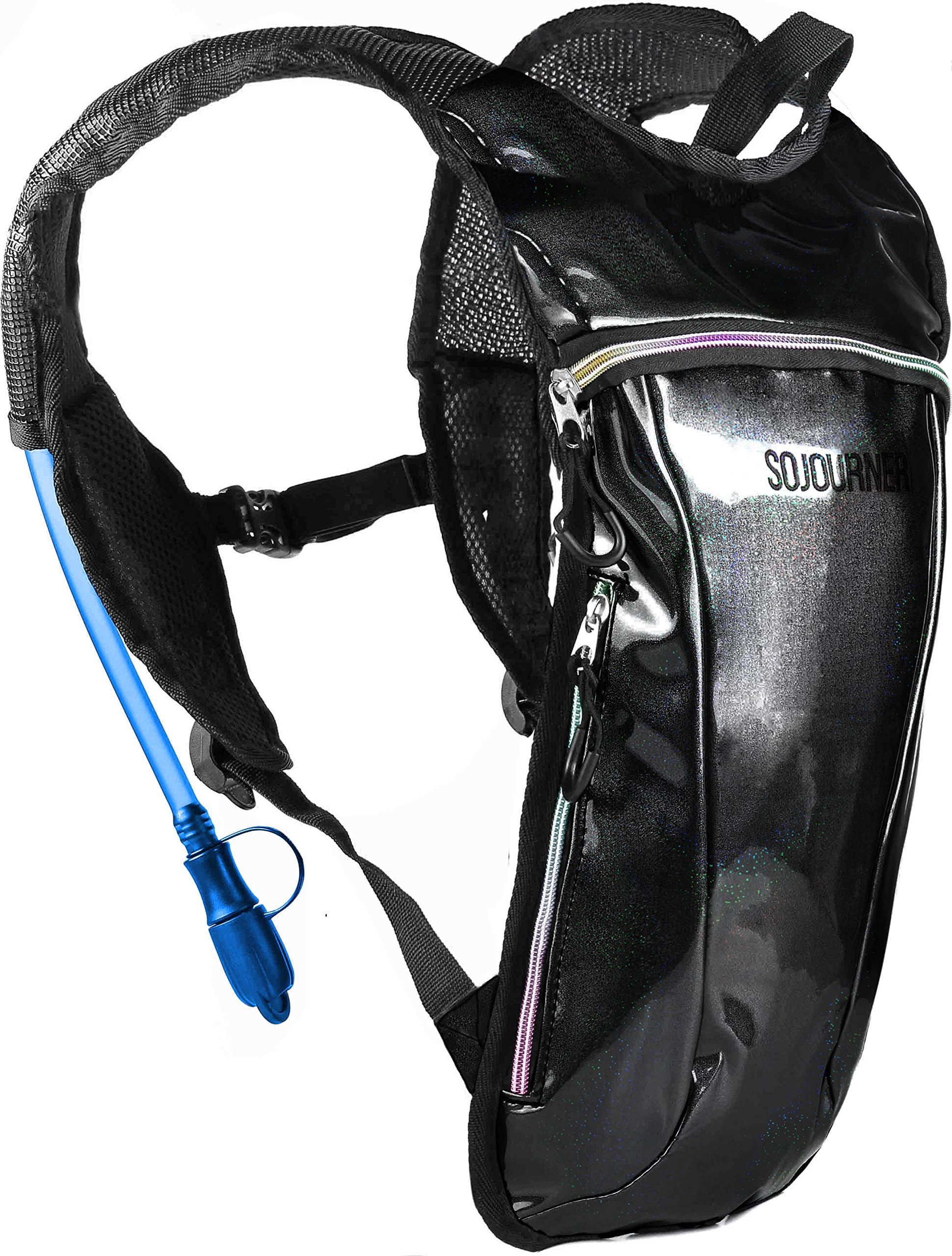 Sojourner Rave Hydration Pack Backpack - 2L Water Bladder Included for Festivals, Raves, Hiking, Biking, Climbing, Running and More (Small) (Glitter - Black)