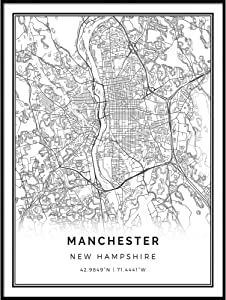 Squareious Manchester map Poster Print | Modern Black and White Wall Art | Scandinavian Home Decor | Newhampshire City Prints Artwork | Fine Art Posters 11x14