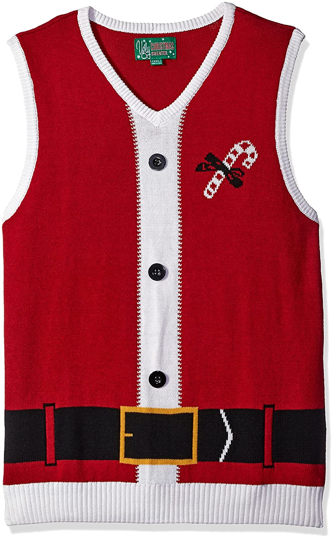 Ugly Christmas Sweater Men's Santa Vest, Cayenne, XX-Large The Ugly Christmas Sweater Kit SYP5-6081VAMZ