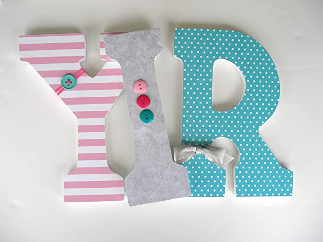 pink teal and gray custom wood letters baby name nursery decor girl