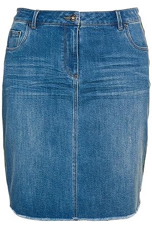 Kurzer Jeans Damen Rock Minirock Jeansrock große Größen Blau Stretch Baumwolle